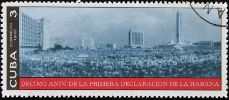 CUBA - CIRCA 1970  A stamp printed in Cuba dedicated to tenth anniversary of the first declaration of Havana, circa 1970