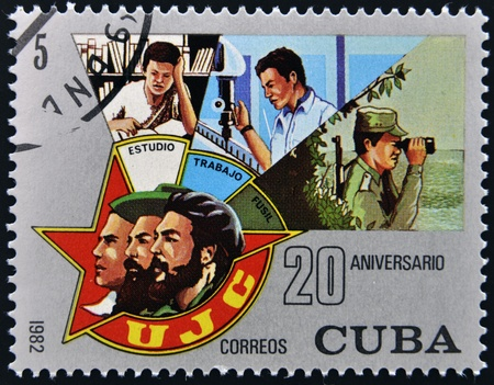 CUBA - CIRCA 1982   stamp printed in Cuba shows 20 anniversary of revolution, shows the Union of Young Communists, circa 1982  photo