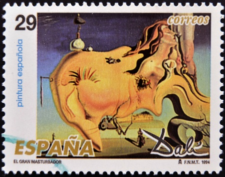 surrealist: SPAIN - CIRCA 1994: A stamp printed in Spain shows The Great Masturbator by Salvador Dali, circa 1994