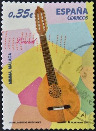 SPAIN - CIRCA 2011  A stamp printed in Spain shows a lute, circa 2011 Stock Photo - 13026446