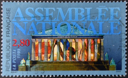 marianne: FRANCE - CIRCA 2005: A stamp printed in France shows the National Assembly building and Marianne, circa 2005 Stock Photo