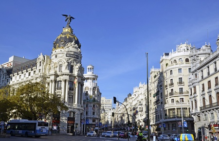 A view of Gran Via, in Madrid, Spain Editorial
