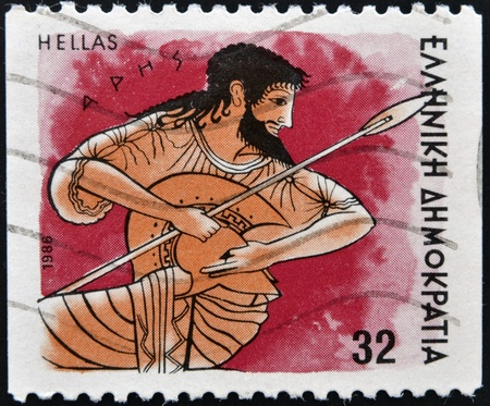 GREECE - CIRCA 1986  A stamp printed in Greece from the  Gods of Olympus  issue showing god Ares, circa 1986   photo