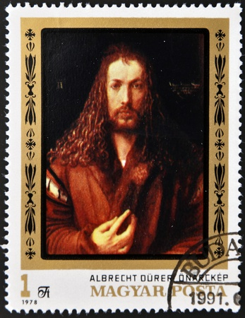 durer: HUNGARY - CIRCA 1978  A stamp printed in Hungary shows  Self-portrait  by Albrecht Durer, circa 1978