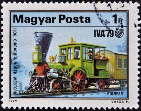 HUNGARY - CIRCA 1979  A stamp printed in Hungary shows a locomotive, 1836 chicago   north western, circa 1979  photo