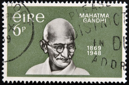 mahatma: IRELAND - CIRCA 1969 : A stamp printed in Ireland shows Mahatma Gandhi, circa 1969