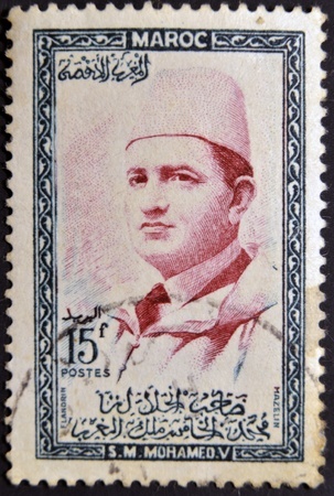 mohammed: MOROCCO - CIRCA 1957 stamp printed in Morocco shows Sultan Mohammed V, circa 1957  Editorial