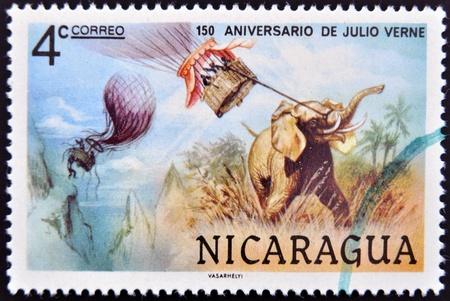 NICARAGUA - CIRCA 1978  A stamp printed in Nicaragua dedicated to 150 years anniversary of Jules Verne circa 1978  photo