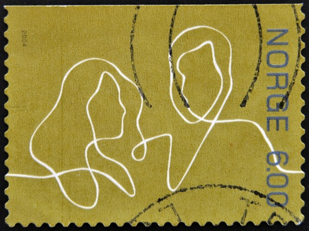 NORWAY - CIRCA 2004  A stamp printed in Norway shows a couple drawn with a single stroke, circa 2004 Stock Photo - 12965787
