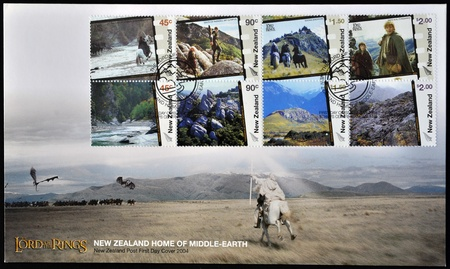 NEW ZEALAND - CIRCA 2004  postcard printed in New Zealand, shows Scenes from The Lord of the Rings, circa 2004
