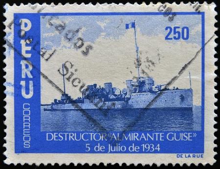 guise: PERU - CIRCA 1974  A stamp printed in Peru shows destroyer  Admiral guise , circa 1974