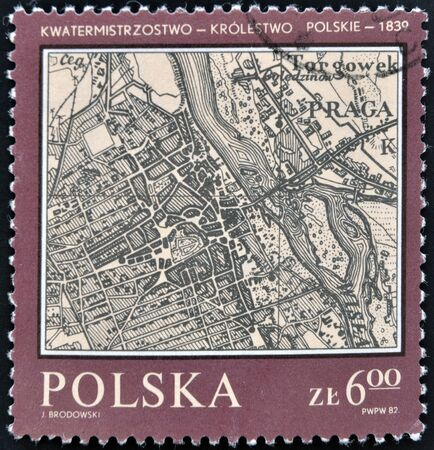 POLAND -CIRCA 1982  A stamp printed in Poland shows map of Poland, Warsaw, Polish Kingdom Quartermaster, 1839, circa 1982   photo
