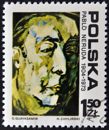 POLAND - CIRCA 1973  A stamp printed in Poland shows the portrait of Pablo Neruda by Oswaldo Guayasamin, circa 1973  Editorial