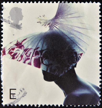 UNITED KINGDOM - CIRCA 2001  A stamp printed in Great Britain dedicated to fabulous hats, shows Butterfly Hat by Dai Rees, circa 2001  Stock Photo - 12965698