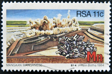 rsa: SOUTH AFRICA - CIRCA 1984  A stamp printed in RSA shows manganese, circa 1984
