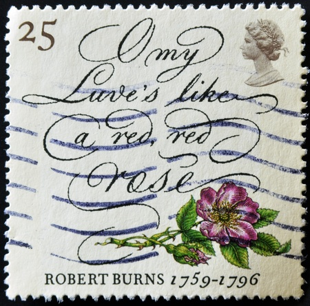 UNITED KINGDOM - CIRCA 1996: A stamp printed in Great Britain shows death bicentenary of robert burns, O my Luves's like a red, red rose, circa 1996