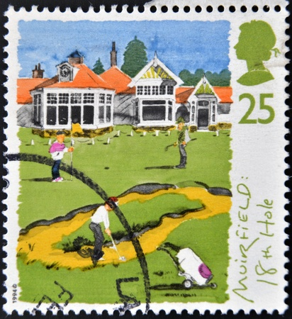 UNITED KINGDOM - CIRCA 1994  A stamp printed in the Great Britain shows St  Andrews, old course, 250th anniversary of Honorable Company of Edinburgh Golfers,18ht hole,  circa 1994 Stock Photo - 12965655