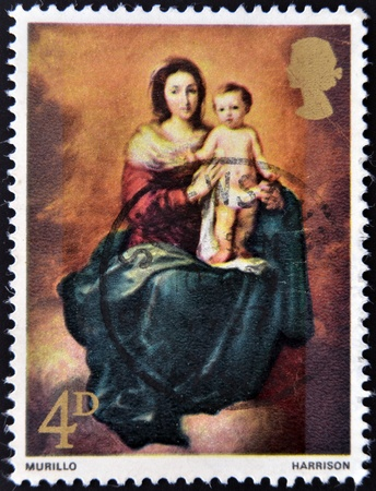 UNITED KINGDOM - CIRCA 1968  A stamp printed in the Great Britain shows Madonna and Child by Murillo, circa 1968  Stock Photo - 12971561
