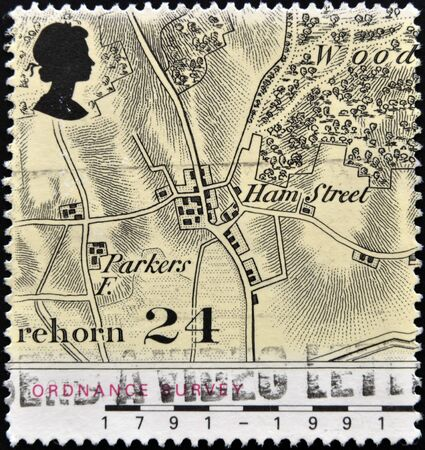 UNITED KINGDOM - CIRCA 1991  a stamp printed in the Great Britain shows Map of Village of Hamstreet, Kent, Bicentennial of Ordnance Survey Maps, circa 1991  Stock Photo - 12966455