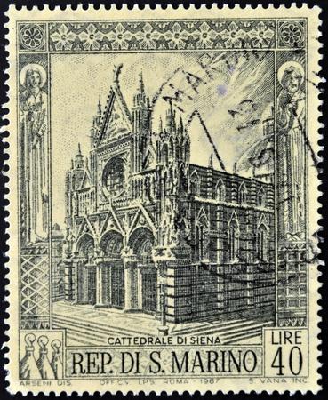 siena italy: SAN MARINO - CIRCA 1967  A stamp printed in San Marino shows Siena Cathedral,  Italy, Circa 1967