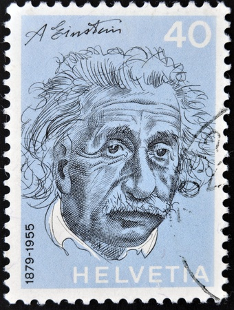 perforated stamp: SWITZERLAND - CIRCA 1972  a stamp printed in the Switzerland shows Albert Einstein, Theoretical Physicist, Theory of General Relativity, circa 1972  Editorial