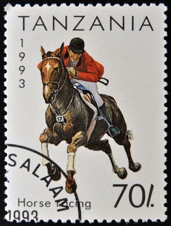 philatelist: TANSANIA - CIRCA 1993 Eine Briefmarke gedruckt in Tansania zeigt, Pferderennen, um 1993