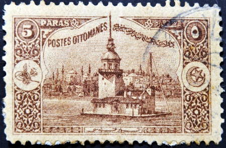 TURKEY - CIRCA 1918  A stamp printed in Turkey shows old view of Istanbul, circa 1918 photo