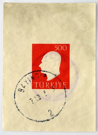 TURKEY - CIRCA 1970  A stamp printed in Turkey showing a portrait of Kemal Ataturk, circa 1970 photo