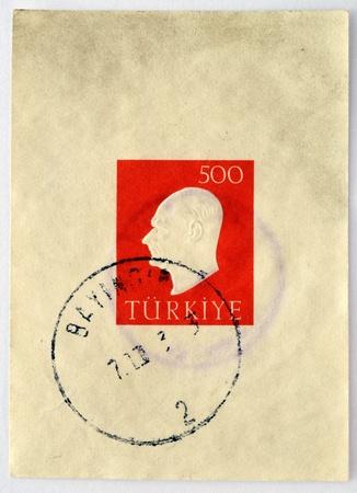 TURKEY - CIRCA 1970  A stamp printed in Turkey showing a portrait of Kemal Ataturk, circa 1970