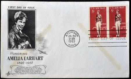 UNITED STATES OF AMERICA - CIRCA 1963  A postcard printed in USA shows Amelia Earhart, circa 1963