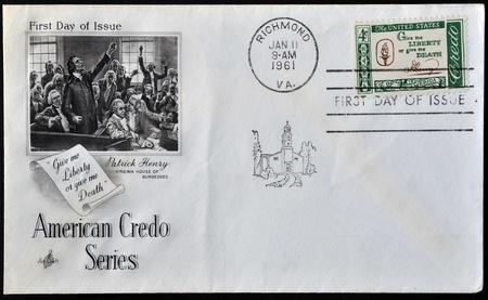 credo: UNITED STATES OF AMERICA - CIRCA 1960   A postcard printed in the USA shows Credo, Give me liberty or give me death,circa 1960