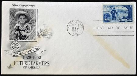 UNITED STATES OF AMERICA - CIRCA 1953  A postcard printed in USA shows Agricultural Scene and Future Farmer, circa 1953