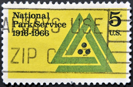 UNITED STATES OF AMERICA - CIRCA 1966  A stamp printed in USA dedicated to 50th anniv  of the National Park Service, circa 1966  Stock Photo - 12971497