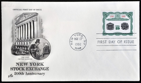 UNITED STATES OF AMERICA - CIRCA 1992   A postcard printed in  USA shows 200th Anniversary New York Stock Exchange, circa 1992
