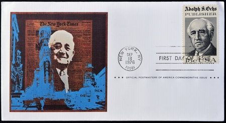 UNITED STATES OF AMERICA - CIRCA 1976   A postcard printed in  USA shows Adolph S Ochs Portrait, circa 1976