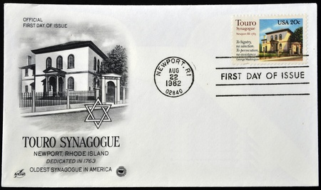 UNITED STATES OF AMERICA - CIRCA 1982  A postcard printed in USA shows Touro Synagogue, the oldest synagogue building still standing in the United States, circa 1982