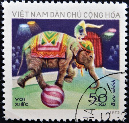 postmail: VIETNAM - CIRCA 1973  A stamp printed in vietnam dedicated to circus, circa 1973