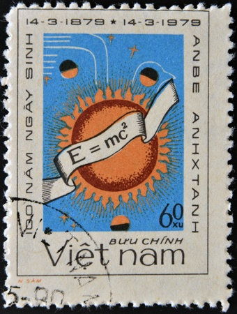 VIETNAM - CIRCA 1979  A stamp printed in Vietnam shows Albert Einstein s famous formula, circa 1979