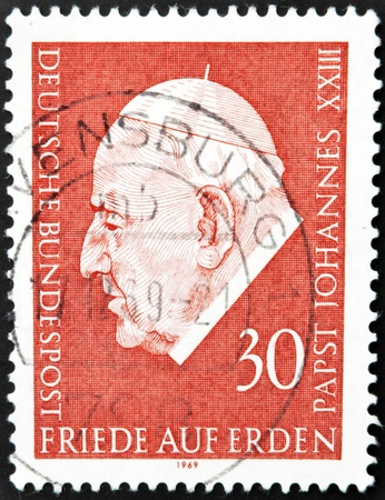 commemorate: GERMANY - CIRCA 1969: a stamp printed in the Germany shows Pope John XXIII, circa 1969  Editorial