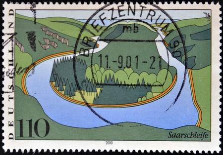 GERMANY - CIRCA 2000: stamp printed in Germany, shows Saar River, circa 2000.  photo