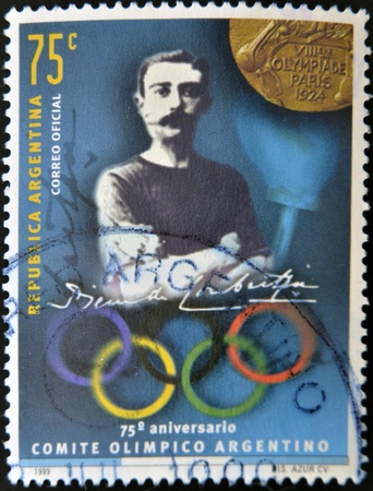 ARGENTINA - CIRCA 1999: stamp printed in Argentina shows Pierre de Coubertin, circa 1999  Stock Photo - 13289456