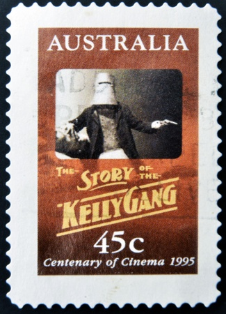AUSTRALIA - CIRCA 1995: A stamp printed in Australia shows the story of the Kelly Gang, circa 1995 Stock Photo - 13289068