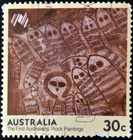 AUSTRALIA - CIRCA 1984: A stamp printed in Australia shows the first australians: Rock paintings, circa 1984 photo