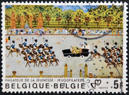 BELGIUM - CIRCA 1980: A stamp printed in Belgium shows royal Parade, circa 1980  photo