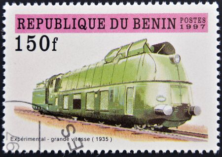 BENIN - CIRCA 1997: A stamp printed in Benin showing train, circa 1997  photo