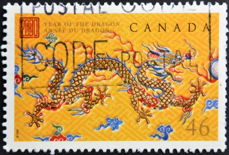 CANADA - CIRCA 2000: stamp printed in Canada, shows New Year 2000, Year of the Dragon, circa 2000  photo