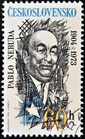 pablo neruda: CZECHOSLOVAKIA - CIRCA 1973: A stamp printed in Czechoslovakia shows Pablo Neruda, circa 1973