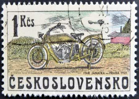 CZECHOSLOVAKIA - CIRCA 1975: A stamp printed in Czechoslovakia shows vintage Motorcycle Itar Janatka, circa 1975  photo