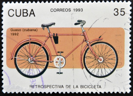 postage stamp frame: CUBA - CIRCA 1993: A stamp printed in Cuba dedicated to retrospective of the bike, circa 1993 Stock Photo