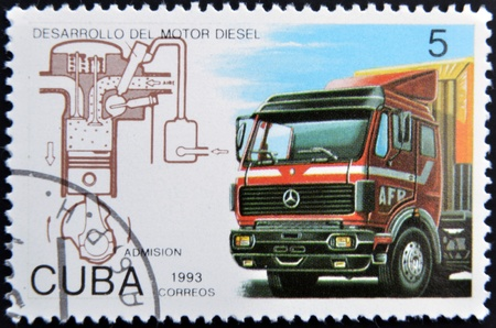 CUBA - CIRCA 1993: A stamp printed in Cuba dedicated to Diesel engine development, shows truck, circa 1993